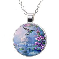 Wholesale pendant tray round silver cabochon resale online - Crystal Glass Dome Metal Tray Pendant necklace Hummingbird Photo Tibet Silver Cabochon Glass Pendant Chains Necklaces