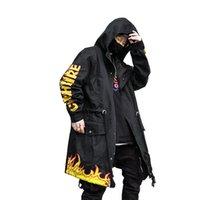 homens trincheira longa venda por atacado-Flash Fogo Homens Streetwear Hip Hop Longo L Harujuku capa Sobretudo Trench Chama Impressão Windbreaker revestimento do revestimento masculino Punk Rave