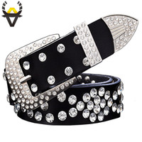 Wholesale women wide rhinestone belts for sale - Group buy Fashion Rhinestone Genuine Leather Belts For Women Unisex Designer Luxury Waist Belt For Men High Quality Second Layer Cowskin Y19051803