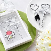 Wholesale giveaways wedding souvenirs wine stoppers resale online - Love Heart Shape Wine Corkscrew Bottle Opener Stopper Sets Wedding Souvenirs Guests Gift Party Favor Wedding Giveaways Gift EEA196