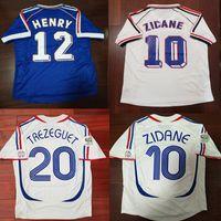 henry jersey venda por atacado-1998 França Zidane Retro Camisas de Futebol Djorkaeff Henry Deschamps Maillot de Pé 2006 França Zidane Vieira Trezeguet Ribery Camisas de Futebol Do Vintage