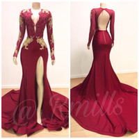 Wholesale open long sleeve dresses resale online - Dark Red Deep V Neck Mermaid Prom Party Dresses Gold Lace Appliques Evening Gowns Sheer Long Sleeves High Slit Open Back
