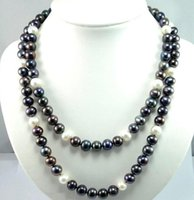 Wholesale pearl mark for sale - Group buy HUGE MM NATURAL TAHITIAN BLACK WHITE PEARL NECKLACE silver MARK INCH