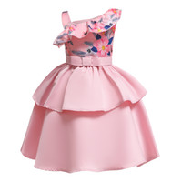 Wholesale baby clothes supplies resale online - Retail baby Girl flower girls dresses one shoulder satin patchwork ruffle floral princess dress children party supply kids boutique clothes