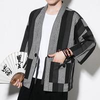 Wholesale chinese long kimono online - Chinese Kimono Cardigan Men Costume Cotton Linen Kimono Cardigan Men Kung Fu Kimono Jacket Men Han Clothing Hotsale Plus Size
