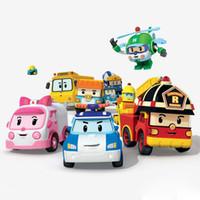 juguetes camión de la policía al por mayor-Silverlit Poli coche Robocar POLI del mini vehículo del coche de la mano de la banda 4 Diseños ambulancia de bomberos del niño aleación de juguetes de dibujos animados del coche policía deformado 07