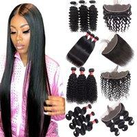 saçlı ön kapak toptan satış-Brezilyalı Virgin Saç 13x4 Dantel Frontal Ve Paketler Vücut Dalga 4 adet / lot İnsan Saç Derin Kıvırcık Saç atkılı Kapanış