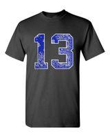 ingrosso bandana tee-2018 nuovi uomini t-shirt blu bandana # 13 tee crew t shirt usura urbana stampa paisley strada hip hop la spedizione gratuita