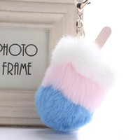 Wholesale ice cream promotion resale online - 7 Styles Creative Ice Cream Keychains Plush Fur Key Rings Pompom Key Holder Keyrings For Women Accessorices Christmas Gift