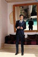 ingrosso legami migliori vestito-2019 Abito da sposa moderno blu scuro, abito personalizzato, uomo, sposo, giacca + pantaloni + cravatta + gilet