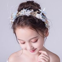 ingrosso blu corona tiaras-Beauty Blue Flowers Girls 'Head Pieces Flower Girl' Head Pieces Girls 'Headbands Girl's Wedding Tiara / Crown Accessori per bambini H323047