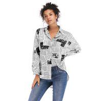 heiße blusenentwürfe großhandel-Hot fashion retro frauen brief gedruckt zeitungsmuster shirts modernes design femme stilvolle langärmelige sommer herbst blusen