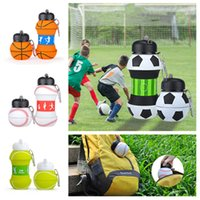 Wholesale folding drinking bottle resale online - Kids Sports Water Bottle School Drinking Cup Folding cup Ball Shaped Leak Proof Baseball Tennis Soccer Volleyball DrinkwareT2I5518