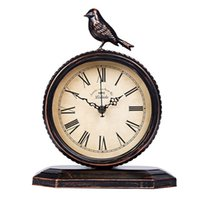 Wholesale european style bedside tables for sale - Group buy American Country Retro Wrought Iron Mute Clock Fashion Personality European Desktop Clock Bedside Table Antique Bird