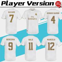 ingrosso calcio uniforme sportivo-Versione del giocatore Real Madrid 2020 # 7 HAZARD # 9 BENZEMA home Maglie da calcio 19/20 Versione da giocatore maschile Maglie da calcio Uniformi sportive In vendita