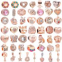 ingrosso fascino d'oro misto-Il trasporto libero 50 pz / lotto (ciascuno per uno) rosa rosa oro europeo fascino misto bead fit pandora charms braccialetto per le donne gioielli fai da te M001