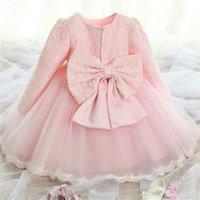 prenses vaftiz için kıyafetler toptan satış-Bebek Kız 1 Yıl Doğum Günü Elbise Elbise Uzun Kollu Dantel Prenses Vaftiz Elbisesi Bebek Parti Elbiseler Kızlar Için Tutu vestidos