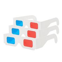 vídeo vermelho azul venda por atacado-Óculos 3D Anaglyph Red / Blue Paper Filme Ciano Universal Dobrável 3D vídeo virtual Dimensional Frete grátis
