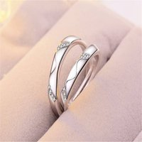 Wholesale western diamond rings for sale - Group buy Western style open student couple ring female zircon diamond six claw crown wedding ring pair abstinence jewelry