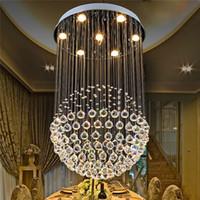 Wholesale bamboo chandeliers online - K9 Crystal LED Chandelier Lights Fixture luxury Ball Shape Ceiling Suspension Hanglamp Living Room Light GU10 Lustre Lamp DHL