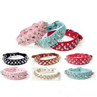 Wholesale leather dog collars harnesses resale online - CW016 Adjustable Small Dog Collar Harness Spiked Studded Faux Leather punk rivet dog collar PU round nail dog chain pet supplies