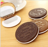 Wholesale mini cosmetic mirrors resale online - Eco Friendly Mini Cute Cocoa Cookies compact mirror pocket portable hand mirror with Comb Makeup Tools colors i like