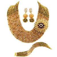 Wholesale jewelry wedding sets gold brown resale online - Fashion Golden Brown Champagne Gold AB African Beads Jewelry Set Nigerian Necklace Wedding Party Jewelry Sets SZ09