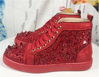 Wholesale shoe custom design for sale - Group buy Men women high end custom genuine leather red coloured glaze nail casual shoes high top locomotive design red bottom sneakers size