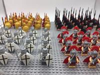 kinder spielzeug für verkauf porzellan großhandel-21 stücke Mittelalterlichen Ritter Rom Gladiator Commander Caesar Soldat Roman Spartan Bausteinziegelsteine Beste Geschenk Baby Spielzeug J190506