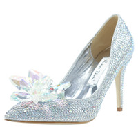 zapatos de encaje champagne para boda al por mayor-Zapatos de champán rojo del diseñador de moda de lujo Cenicienta zapatos de las mujeres de los altos talones de plata / / novia de la boda del partido de tarde cristalino de baile de verano