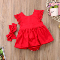 Wholesale new arrival baby outfits for sale - Group buy New Arrival Red Flower Baby Clothing Newborn Baby Girls Lace Backless Romper Dress Jumpsuit Outfits Clothes M