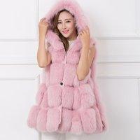 chaleco con capucha rosa al por mayor-Casaco Femenino sólido Escudo piel de imitación de las mujeres del invierno Rosa caliente casual con capucha sin mangas de piel falsa chaleco del invierno de la chaqueta de las mujeres Sólido
