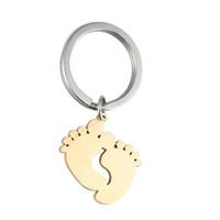anillos de huellas al por mayor-Acero inoxidable del pie del bebé de impresión del encanto colgante huella llavero accesorios de la joyería colgantes llavero de recuerdo