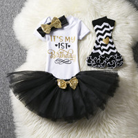 Wholesale cute baby girl clothes summer wear for sale - Infant First Birthday Outfits Baby Girl Clothes Sets Newborn Toddler Girl Christening Party Wear Little Girl One Year Clothing