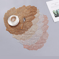 Wholesale table leafs resale online - Leaf Shape Table Mats PVC Hollowing Out Heat Insulation Western Food Pads Hotel Prevent Slip Placemat bl L1