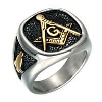 Wholesale masonic silver for sale - Group buy Retro Vintage Black Silver L Stainless Steel Freemason Masonic signet ring fashion new jewelry for men