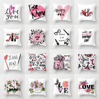 kanepe toptan satış-Mutlu Sevgililer Günü Yastık Love Letter Print Yastık Kapak Çift Ev Koltuk * 45cm yastık kılıfı 45 atın Makyaj