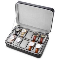 ingrosso caso di viaggio in pelle-10 Griglie in pelle PU orologio da viaggio scatola di immagazzinaggio con cerniera orologio da polso scatola organizzatore titolare per orologio orologi scatole di gioielli display