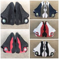 Wholesale kids canvas shoes boys resale online - 2019 Cheap s Black Cats Toddler sneakers bred Flint Kids Basketball Shoes Infant big boy Girl Children Trainers With Box