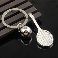 Wholesale Badminton Ball Pendant Keyrings Sport Ball and Racket Keychain Birthday Christmas Gift Can Laser Your Logo