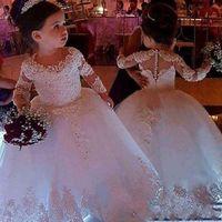 año 12 vestidos de graduación al por mayor-Flor de la boda apliques pequeña princesa vestidos de bola blanco de manga larga de encaje vestidos de niña de cuello redondo de longitud de vestido de baile hinchada AL2385