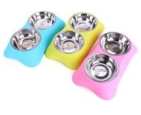 cachorros bebendo tigela venda por atacado-Alimentador do cão Beber Taças para Cães Gatos Pet Food Bowl Pet Suprimentos Pet Alimentador e Waterer