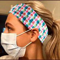 Wholesale yoga scarves resale online - Yoga print mask Button Headband Holder Protect Ears With Headwear mask Holder Band Scarf headscarf sports Hair Bandanas LJJA4012