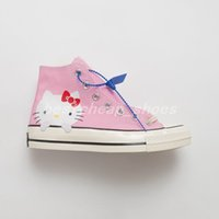 merhaba kanvas toptan satış-Yeni Sevimli Kitty Kedi x Chuck 70 Yüksek 1970 s Bayan Pembe chucks Merhaba Rahat Kanvas Ayakkabılar Paten Bayan Eğitmenler Glitter Gümüş Tasarımcı Sneakers