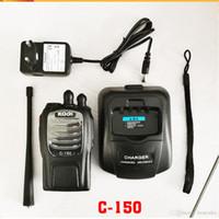 talkie walkie baofeng uv 8w toptan satış-UHF 400-470MHz walkie talkie ile 2018 Sıcak satış 5W C-150 iki yönlü telsiz çağrı FM verici