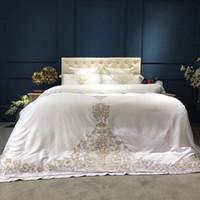 Wholesale white silk bedding set king resale online - Gold silver white luxury silk Bedding Set queen king size bed set oriental embroidery duvet cover sets bedsheets linens