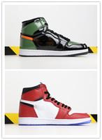 ördek basketbol ayakkabıları toptan satış-Chicago Kristal 1 Basketbol Ayakkabı Mens 1 S OG ORTA Spor Sneakers Mandarin ördek Eğitmenler Yılın Çayı Patent Sneakers tasarımcı ayakkabı