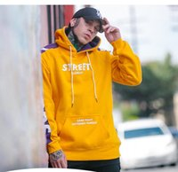 hoodie türleri toptan satış-Toptan 2018 Erkek Tasarımcı Giyim Kişiselleştirilmiş İngilizce Çizgili Tasarımcı Kazak Kadife Düz Silindir Tipi Tasarımcı Hoodie