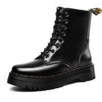 botas de tornozelo preta à prova d'água quente venda por atacado-Ankle Couro Ins preto New impermeável botas de inverno Quente Luxo Homens Botas Casual Sneakers Designer Duplo encaixotado 1014