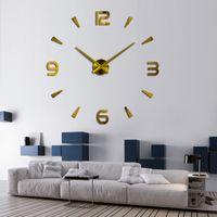 reloj de pared moderno nuevo diseño al por mayor-37 pulgadas Nuevo Reloj de Pared Reloj de Cuarzo Pared Diseño Moderno Grandes Relojes Decorativos Europa Acrílico Pegatinas Sala de estar Klok